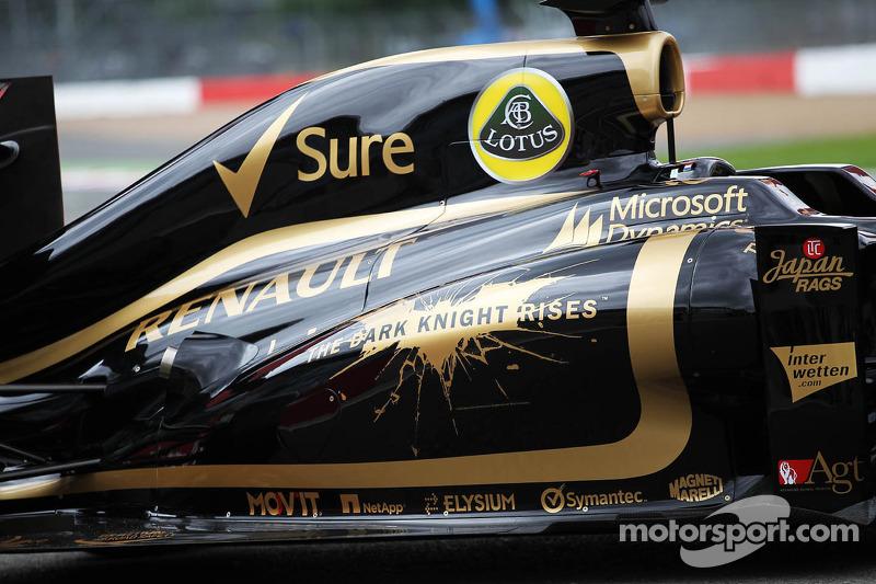 Batman film the Dark Knight Rises branding on the Lotus F1 E20