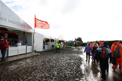 A wet and muddy merchandise area