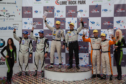 P2 Podium: First Place Scott Tucker, Christophe Bouchut; Second Place Martin Plowman, David Heinemeier Hansson; Third Place Patrick Dempsey, Joe Foster