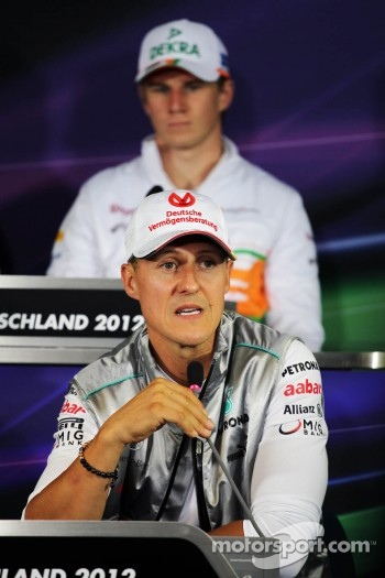 Michael Schumacher, Mercedes AMG F1 and Nico Hulkenberg, Sahara Force India F1 in the FIA Press Conference