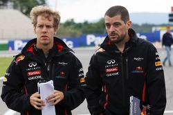 Sebastian Vettel, Red Bull Racing walks the circuit with Guillaume Rocquelin , Red Bull Racing Race Engineer