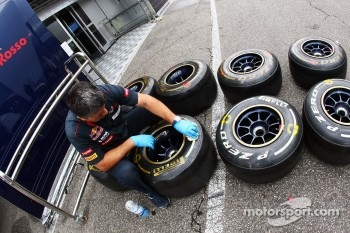 Pirelli tyres prepared by a Scuderia Toro Rosso mechanic