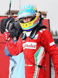 Fernando Alonso, Ferrari celebrates his pole position in parc ferme