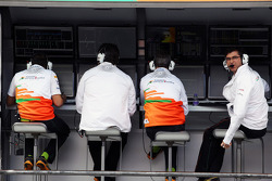Bradley Joyce, Sahara Force India F1 Race Engineer, on the pit gantry