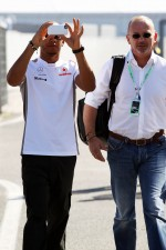 Lewis Hamilton, McLaren arrives at the circuit with Didier Coton, Driver Manager