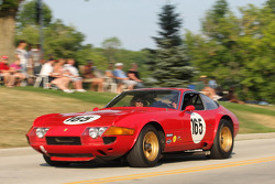 Race Cars parade into Elkhart Lake for the Friday Concours.  #165 1969 Ferrari 365 GTB/4: David Hinton