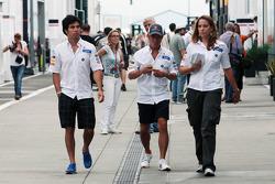 Sergio Perez, Sauber with team mate Kamui Kobayashi, Sauber