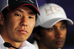 Kamui Kobayashi, Sauber and Narain Karthikeyan, Hispania Racing F1 Team, in the FIA Press Conference