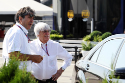 Bernie Ecclestone, CEO Formula One Group, with Pasquale Lattuneddu, of the FOM