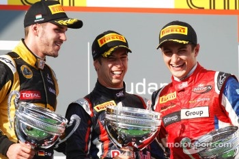 Podium: race winner Antonio Felix da Costa, second place Daniel Abt, third place Mitch Evans