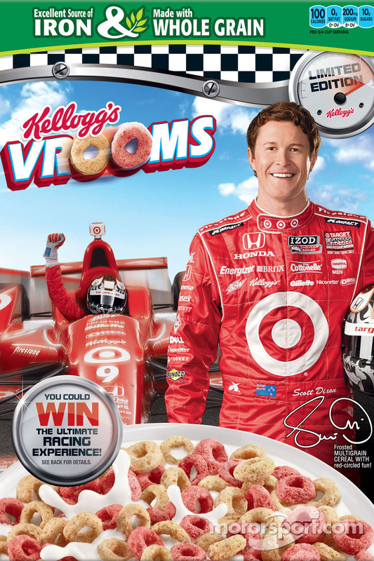 Scott Dixon on the front of Kellogg's Frosted Flakes cereal box