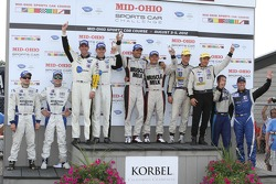 Class podium: P1 winners Lucas Luhr, Klaus Graf, P2 winners Scott Tucker, Christophe Bouchut, GT winners Tom Milner, Oliver Gavin, PC winners Rudy Junco, Marino Franchitti, GTC winners Al Carter, Spencer Pumpelly
