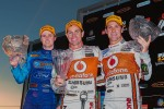 Podium: race winner Craig Lowndes, second place Mark Winterbottom, third place Jamie Whincup