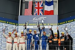 LMP2 podium: winners John Martin, Jan Charouz, Tor Graves, second place Enzo Potolicchio, Ryan Dalziel, Stéphane Sarrazin, third place Pierre Ragues, Nelson Panciatici, Roman Rusinov