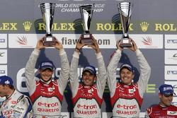 Overall podium: race winners Andre Lotterer, Benoit Tréluyer, Marcel Fässler