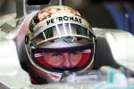 Michael Schumacher, Mercedes AMG F1 with new helmet design