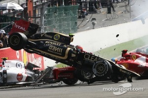 Romain Grosjean crash at Spa-Francorchamps.