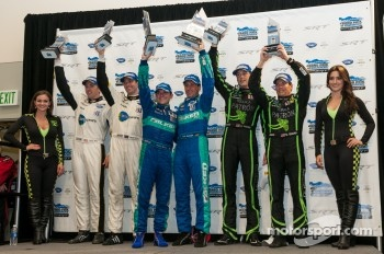 GT podium: winners Bryan Sellers, Wolf Henzler, second place Tom Milner, Oliver Gavin, third place Johannes van Overbeek, Scott Sharp