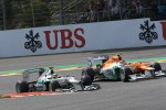 Nico Rosberg, Mercedes AMG Petronas and Nico Hulkenberg, Sahara Force India Formula One Team