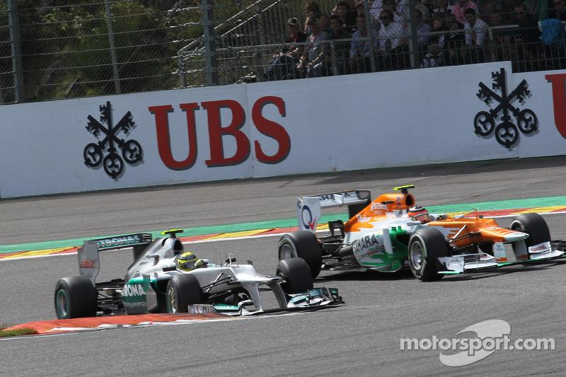 Nico Rosberg, Mercedes AMG Petronas and Nico Hulkenberg, Sahara Force India Formula One Team