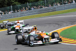 Nico Hulkenberg, Sahara Force India F1 leads Paul di Resta, Sahara Force India