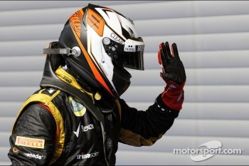 Kimi Raikkonen, Lotus F1 Team celebrates his third position in parc ferme