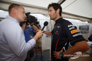 Mark Webber, Red Bull Racing is interviewed at the launch of the GP3 - 13 car