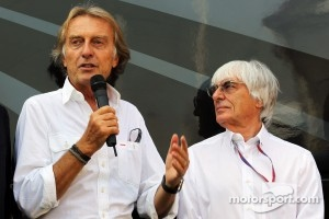 Luca di Montezemolo, Ferrari President with Bernie Ecclestone, CEO Formula One Group