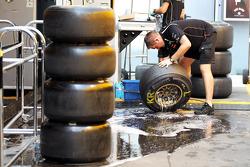 Lotus F1 Team wash their Pirelli tyres