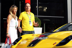 Benjamin Sloss Treynor, Vice-President Google Management Group is presented with a Ferrari 512 he won in an auction to raise funds for victims of the Italian earthquake