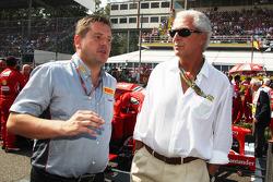 Paul Hembery, Pirelli Motorsport Director with Marco Tronchetti, Pirelli Chairman on the grid