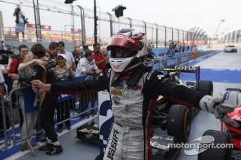 Race winner Max Chilton celebrates
