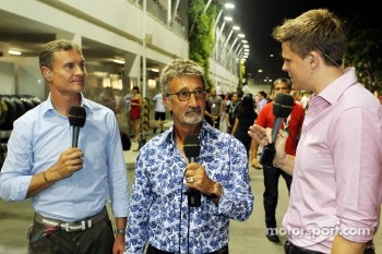 David Coulthard with Eddie Jordan, BBC Television Pundit and Jake Humphrey, BBC Television Presenter
