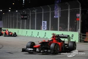 Timo Glock, Marussia F1 Team leads team mate Charles Pic, Marussia F1 Team