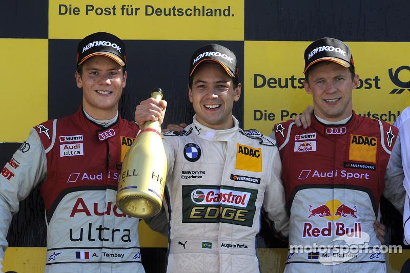 Podium: race winner Augusto Farfus Jr., BMW Team RBM; second place Adrien Tambay, Audi Sport Team Abt; third place Mattias Ekström, ABT Sportsline