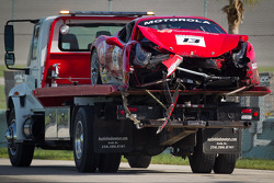 Crashed car of #13 Ferrari of Ontario 458CS: Marc Muzzo