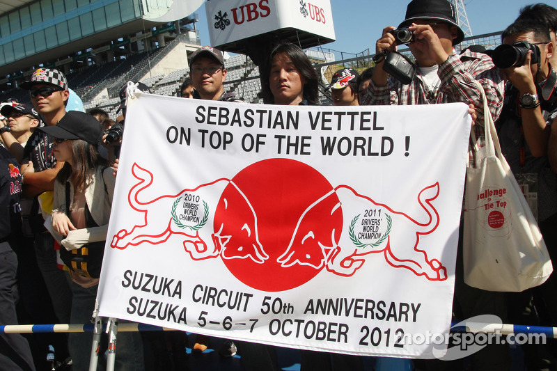 Banner for Sebastian Vettel, Red Bull Racing at the pit lane walkabout