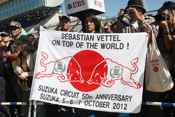 Banner for Sebastian Vettel, Red Bull Racing at the pit lane walkabout