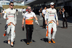 Paul di Resta, Sahara Force India F1 with Gerry Convy, Personal Trainer and Nico Hulkenberg, Sahara Force India F1