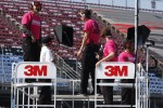 Special breast cancer shirts worn by the Roush Fenway crew