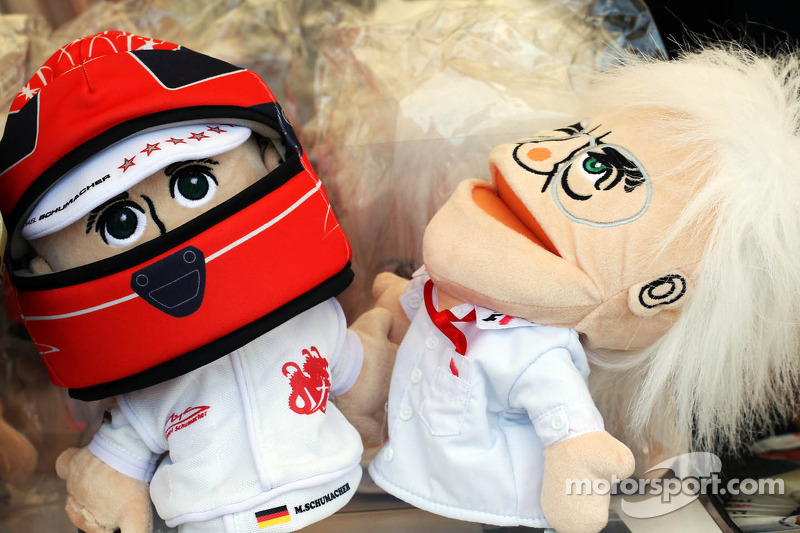 Michael Schumacher, Mercedes AMG F1 and Bernie Ecclestone, CEO Formula One Group, hand puppets on sale