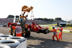 The Ferrari of Fernando Alonso, Ferrari, who crashed out at the start of the race