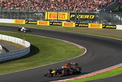 Sebastian Vettel, Red Bull Racing leads Kamui Kobayashi, Sauber