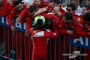 Felipe Massa, Ferrari celebrates his second position in parc ferme