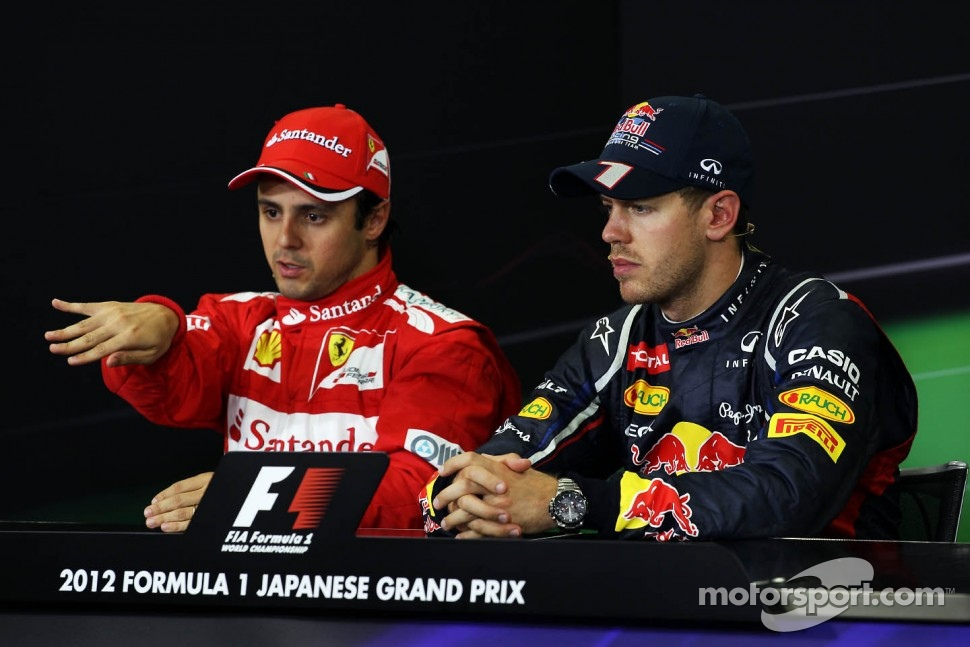 The FIA Press Conference, Felipe Massa, Ferrari, second; Sebastian Vettel, Red Bull Racing, race winner