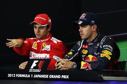 The FIA Press Conference, Felipe Massa, Ferrari, second; Sebastian Vettel, Red Bull Racing, race winner