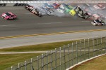 Last lap crash: Matt Kenseth, Roush Fenway Racing Ford heads to victory while Tony Stewart, Stewart-Haas Racing Chevrolet is upside down