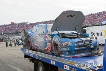 Wrecked car of Sam Hornish Jr., Penske Racing Dodge