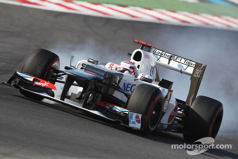 Kamui Kobayashi, Sauber locks up under braking