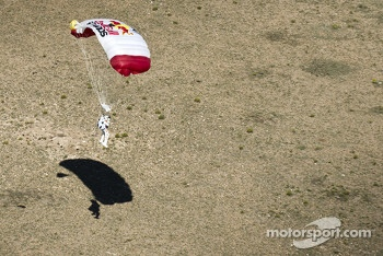 Felix Baumgartner lands after breaking the speed of sound